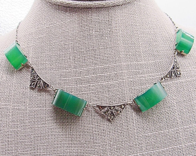 Antique vintage Art Deco necklace sterling marcasite with authentic green sugar loaf Chrysoprase signed