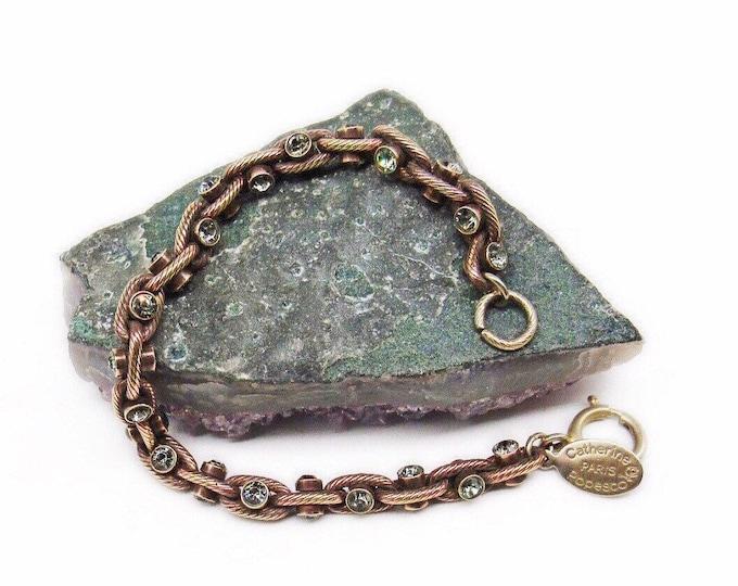 La Vie Parisienne Catherine Popesco France vintage Rose Gold plated faceted Swarovski Crystals signed Designer Bracelet