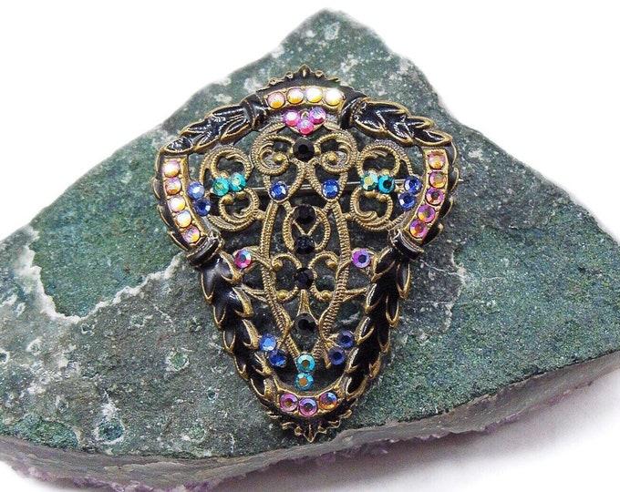 Gorgeous vintage Anne Koplik Victorian Revival antiqued Bronze tone faceted Swarovski Crystal Jet Black Enamel signed designer Brooch