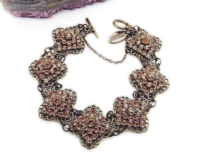 Kenny Ma of San Francisco Vintage retired antiqued bronze tone brilliant faceted Swarovski Taupe Crystal signed link bracelet