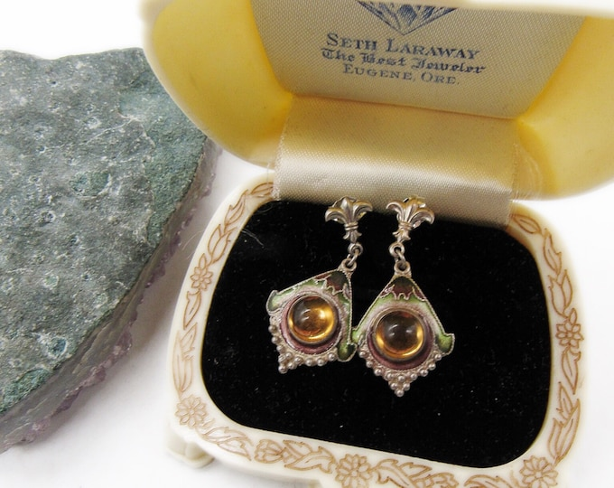 Luminous vintage Shashi Sterling Silver Amber Glass Cabochon hand painted Enamel Cloisonne signed Designer Earrings Circa 1970s