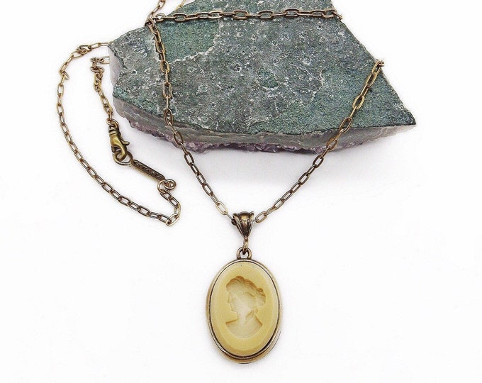 Vintage Extasia retired Victorian Revival antiqued bronze opaque Ivory German Glass Intaglio designer pendant necklace