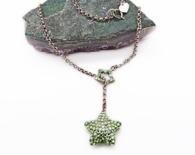 Emily Austin vintage retired Sterling Silver faceted Peridot Green Swarovski Crystal pave Star and Heart signed Lariat necklace