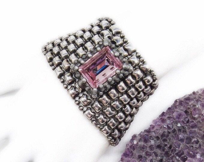 Rare! Sergio Gutierrez vintage retired Haute Couture Liquid Silver Mesh Huge Emerald Cut Swarovski Crystal Designer Runway Bracelet