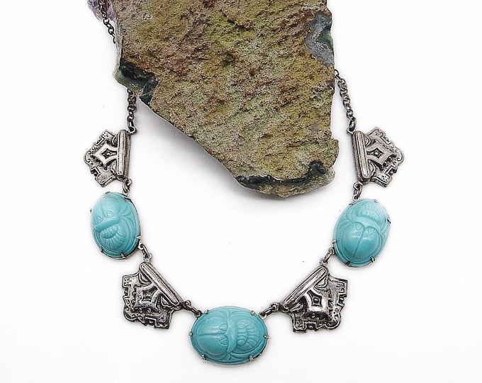 Egyptian revival vintage Scarab Delphite opaque molded blue glass Art Deco silver tone necklace circa 1940s-1950s