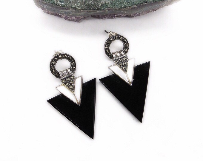 Vintage Art Deco revival Sterling Silver Marcasite Onyx and Mother of pearl signed statement earrings