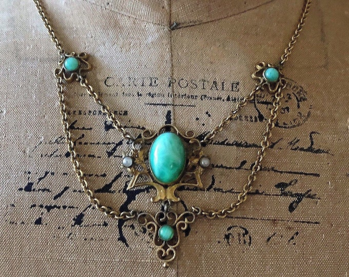 Antique Arts & Crafts Bohemian gold rolled base metal genuine Seed Pearl luminous Peking Glass Cabochon Festoon Necklace