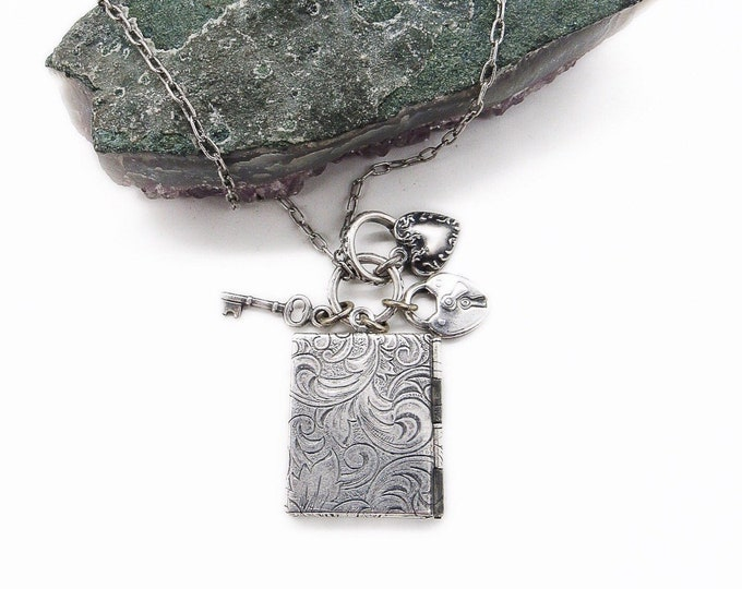 Catherine Popesco France La Vie Parisienne Victorian revival silver plated Locket charm signed necklace