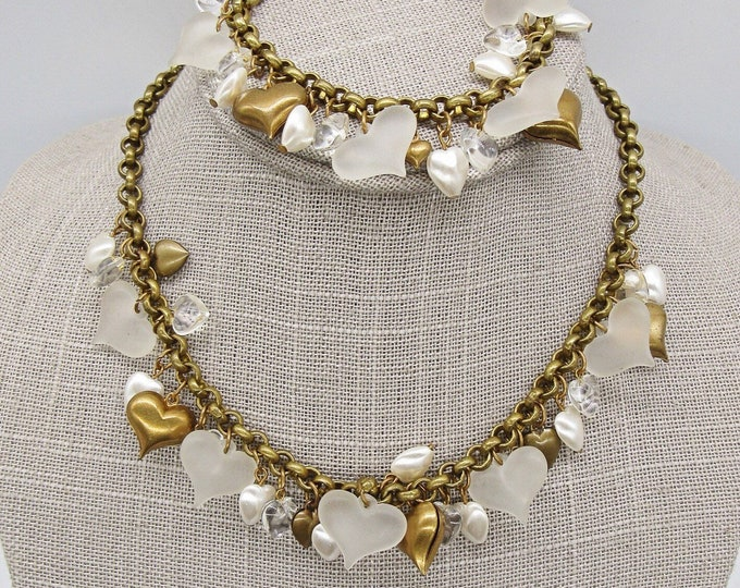Pididdly Links rare vintage Victorian revival frosted heart puffy heart antiqued brass signed necklace and bracelet set