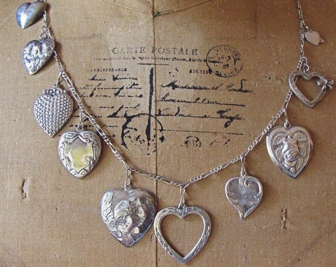 Stunning Vintage 1940s Art Nouveau Victorian Revival Sterling Silver Repousse Heart long signed Charm Necklace