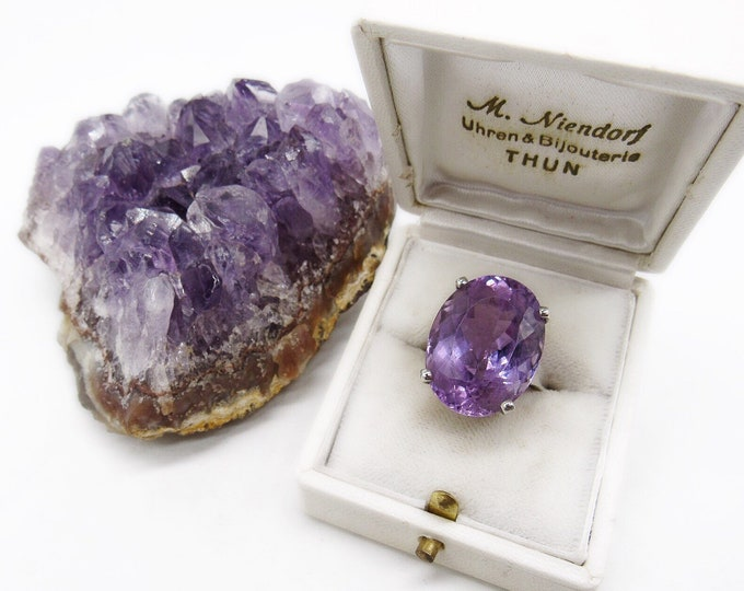 Outstanding Vintage Sterling Silver massive faceted Amethyst Prong set Size 6 signed Statement Cocktail Ring