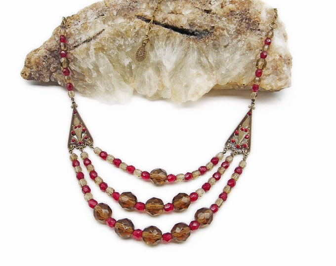 Anne Koplik Designs Beautiful vintage Edwardian Revival retired antiqued bronze tone faceted Ruby Red Bead and Crystal signed Bib necklace