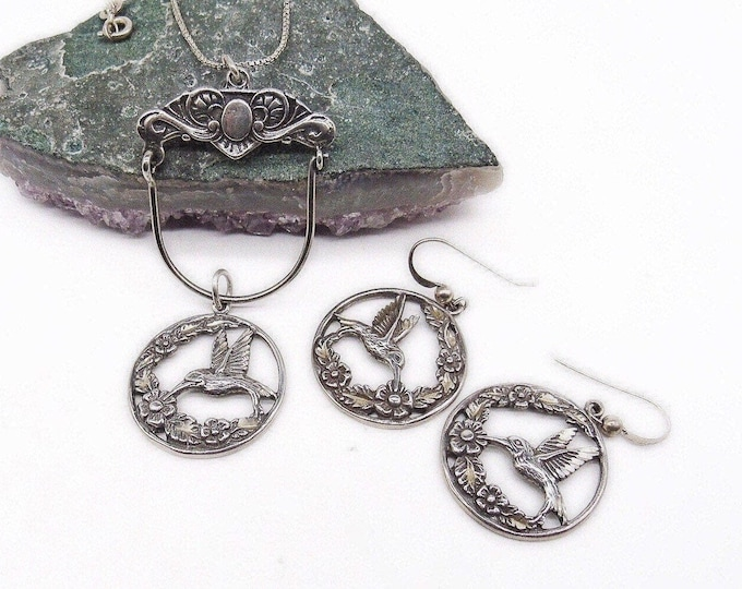 Sterling Silver Vintage 1970s Hummingbird with Flowers pendant Necklace dangle Earrings signed jewelry set