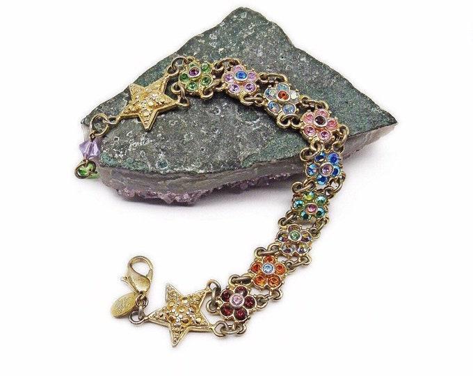 Kirks Folly vintage brilliant golden tone faceted Swarovski Crystal pastel Enamel Flower designer Bracelet