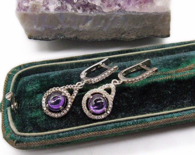 Elegant Samuelle & Co 18k Gold plated solid Sterling Genuine Amethyst Faceted Diamond Designer Earrings