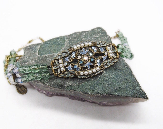 Anne Koplik Designs early vintage Victorian Revival antiqued bronze tone faceted Crystal Seed Pearl Jet and Green Enamel Choker Necklace