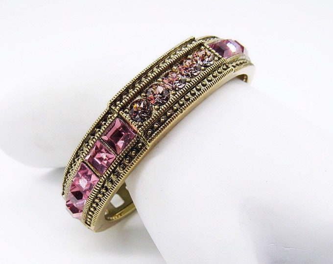 Heidi Daus retired Art Deco styled oxidized brass and Rose Swarovski crystal signed bracelet