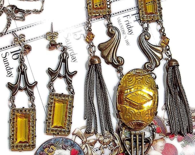 Vintage Sadie Green ornate Edwardian Art Nouveau crystal necklace & earrings set gorgeous !