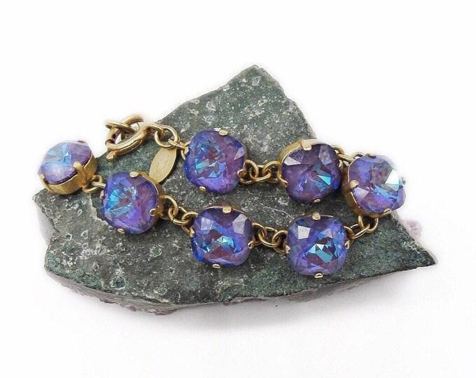Catherine Popesco of France vintage antiqued brass tone faceted Ultra Purple Swarovski Crystal Designer Link Bracelet