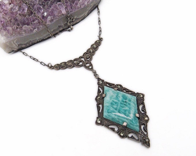 Antique Edwardian Era 1910s Sterling Silver faceted Marcasite Peking Glass exquisite signed Necklace