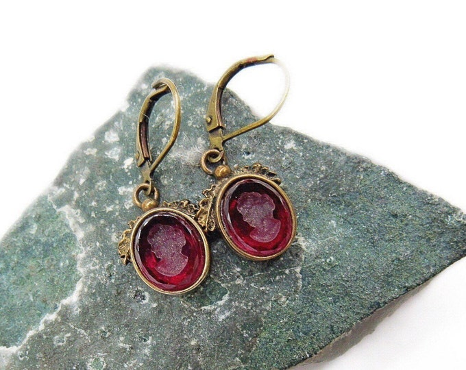 Extasia vintage Victorian Revival antiqued Bronze Cherry Red German pressed glass Intaglio signed Designer Earrings