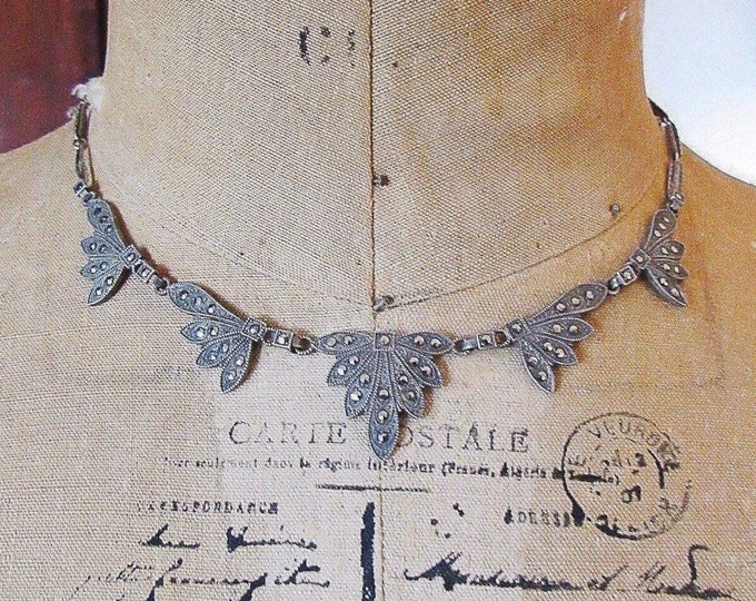Stunning 1920s Art Deco vintage Sterling Silver faceted Marcasite accented signed Choker Necklace