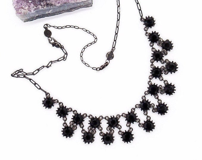 Vintage signed Mariana jet black Austrian Crystal antiqued bronze tone bib necklace