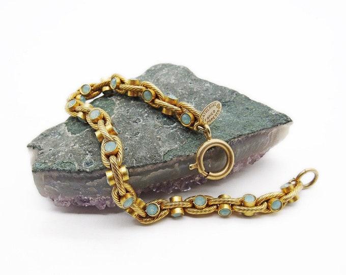 La Vie Parisienne Catherine Popesco France vintage retired gold plated link faceted Sea Opal Crystal signed designer bracelet