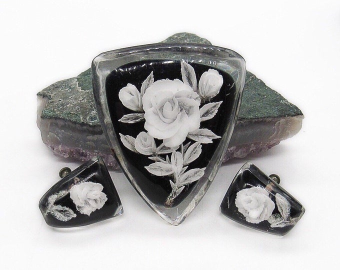 Vintage 1940s Lucite Reversed Carved White Roses on black Bakelite backing unsigned brooch and screw back earrings set