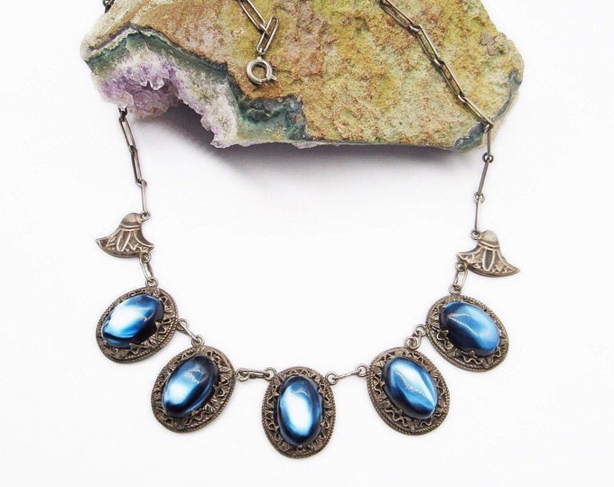Vintage antique Egyptian revival/Arts and Crafts brilliant blue glass cabochon signed sterling necklace
