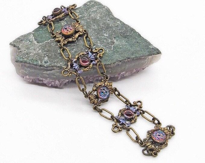Gorgeous Sweet Romance USA Victorian revival antiqued bronze tone brilliant Art Glass cabochons signed double link bracelet