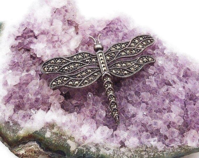 Vintage Estate Judith Jack Sterling Silver Marcasite accented signed Dragonfly brooch