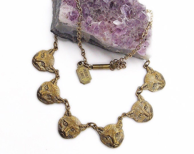 Vintage Pididdly Links retired antiqued brass Cat Charms signed  statement necklace
