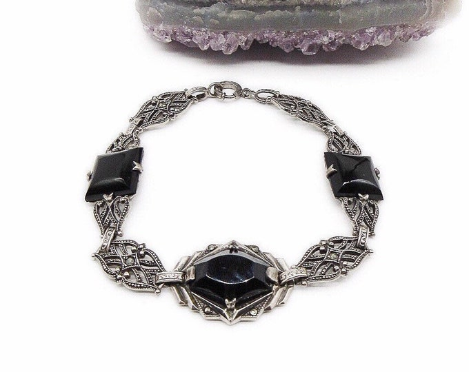 Vintage 1920s Art Deco decorative Sterling Silver Marcasite with Onyx signed link bracelet