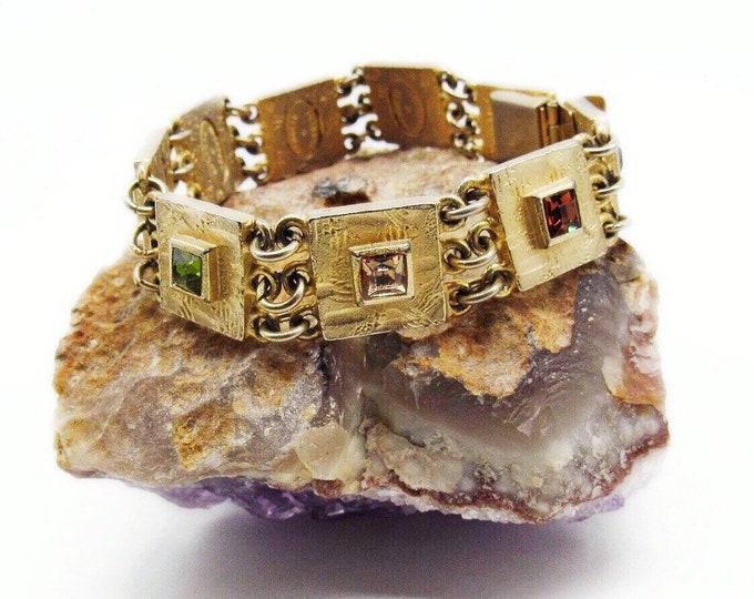 Vintage Roxanne Assoulin Art Deco design gold tone faceted Crystal signed Link Bracelet