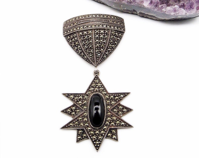 Judith Jack sterling marcasite and onyx stone signed brooch in Art Deco style gorgeous ! Vintage