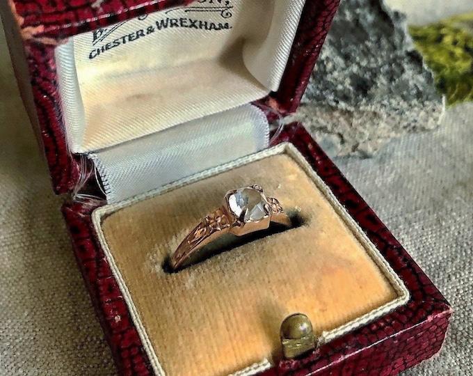 Ladylike  antique Art Nouveau decorative 10k Rose Gold genuine faceted Quartz Rock Crystal signed size 7 Solitaire Ring