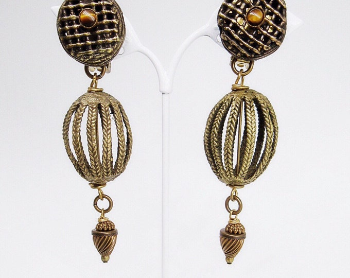 Vintage early signed Jan Michaels of San Francisco antiqued brass large ornate filigree statement earrings circa 1980s