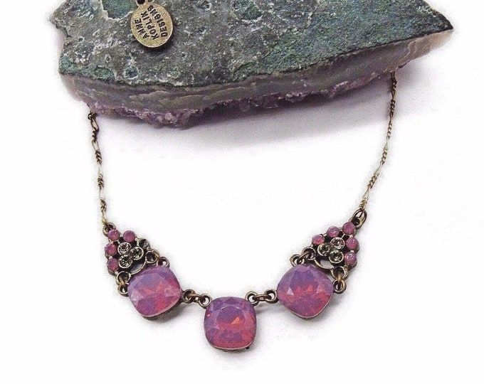Vintage Anne Koplik Designs antiqued Brass tone faceted Pink Sea Opal and Peridot Rhinstone signed Designer Necklace