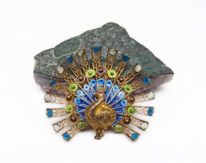 Vintage 1940s Italian 800 Silver Vermeil filigree Plique-A-Jour Enamel signed Peacock Brooch