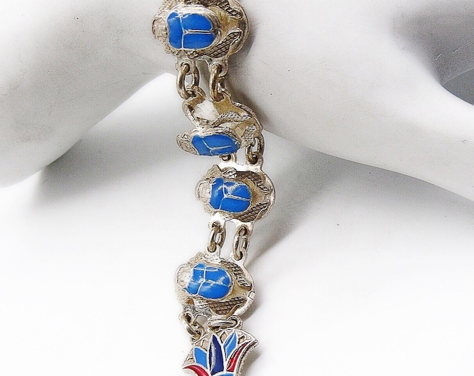 Egyptian Revival vintage Art Deco sterling silver enameled scarab signed link bracelet