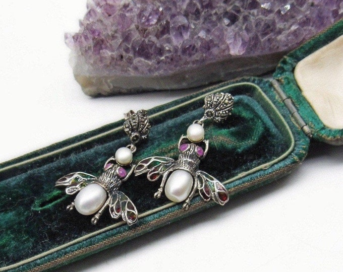 Whimsical vintage Sterling Silver Marcasite genuine Cultured Pearl Glass Wing faceted Lab Ruby signed Bumblebee Earrings