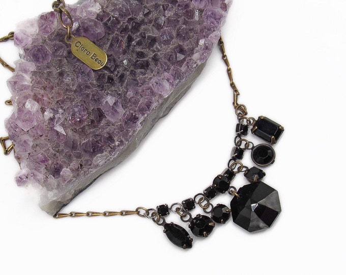 Clara Beau vintage antiqued brass tone faceted Jet Black glass crystal signed Charm Necklace
