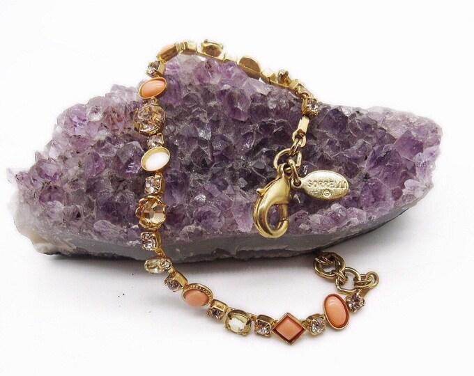 Sorrelli vintage retired brilliant gold tone faceted rose and sea opal rhinestone & peach cabochon signed bracelet