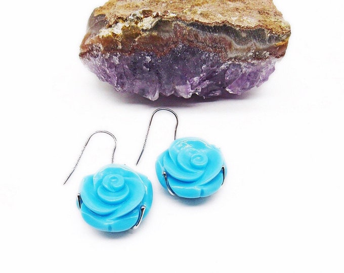 Amedeo retired Sterling Silver hand carved simulated Turquoise Rose signed designer Earrings