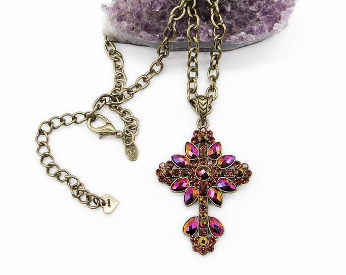 Kirks Folly retired antiqued gold bright red Aurora Borealis rhinestone cross signed pendant necklace
