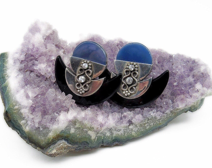 Vintage Modernist Art Deco Revival Sterling Silver faceted Crystal Onyx Blue Chalcedony signed Statement Earrings