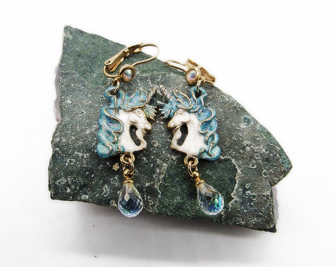 Kirks Folly vintage retired gold tone faceted crystal enamel Cloudwalker Unicorn signed drop earrings