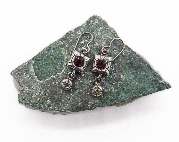 Retired Patricia Locke modernist silver tone faceted ruby and clear crystals signed designer drop earrings