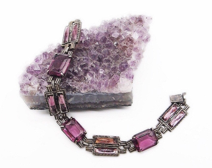 Vintage Art Deco Era Amethyst purple molded Czech Glass antiqued silver tone signed bracelet